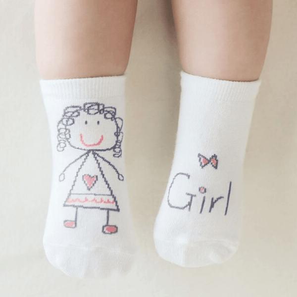 Meia infantil boy e girl com anti derrapante