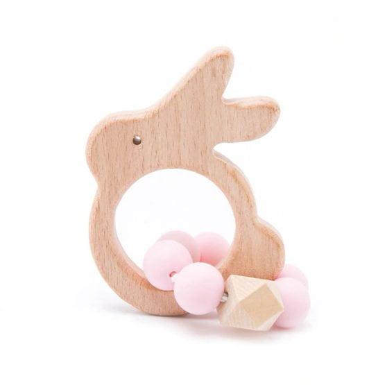 Mordedor infantil coelhinho madeira
