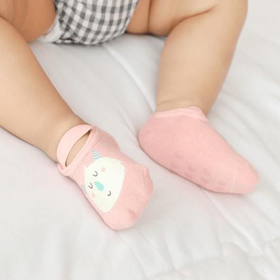 Meia infantil sapatilha bichinhos com anti derrapante