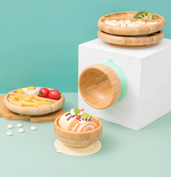 Conjunto prato e tigela de bambu