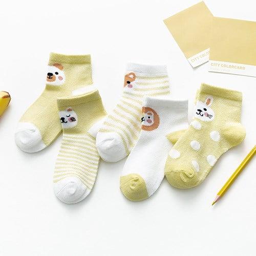 Kit 5 meias infantis curta animais sortidos